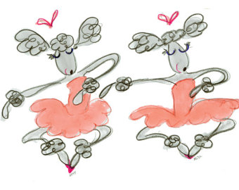 dancing poodles in pink tutus