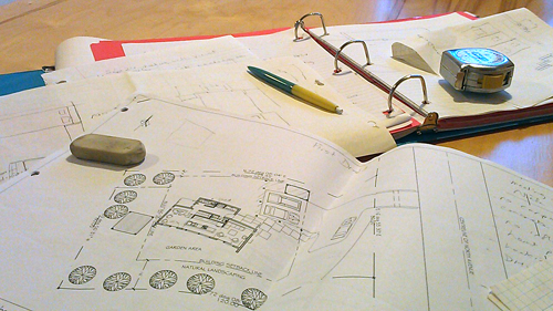 plans on table