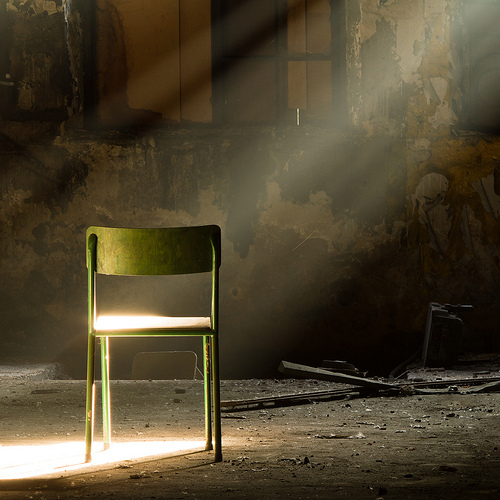 green chair window light