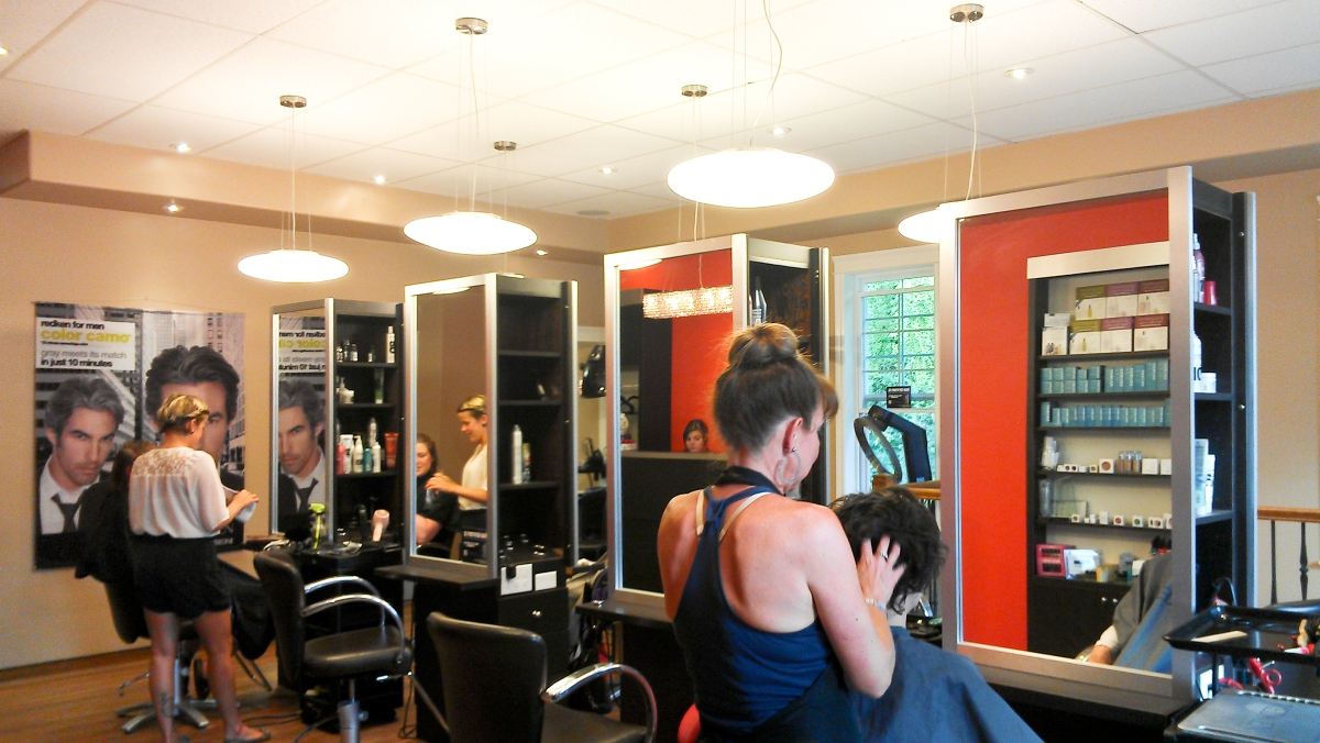 hair salon lighting by deborah nicholson lighting and interiors