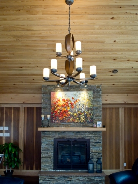 High vaulted ceilings in large rooms require large light fixtures