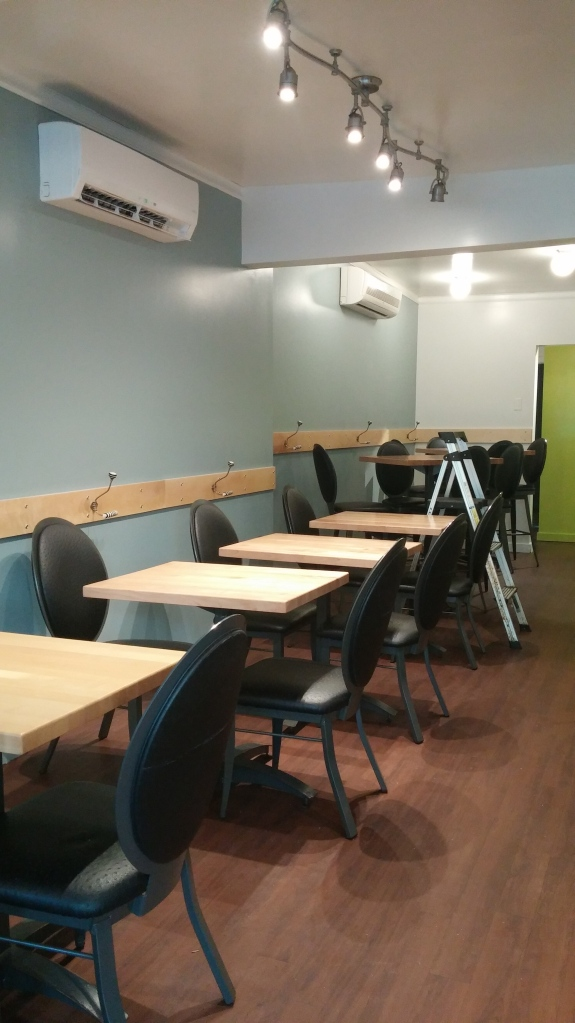 The new cool colours serve to make the restaurant FEEL cooler, and larger, and fresher!